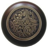 Notting Hill NHW-759W-AB, Saddleworth Wood Knob in Antique Brass/Dark Walnut Wood, Classic