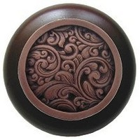 Notting Hill NHW-759W-AC, Saddleworth Wood Knob in Antique Copper/Dark Walnut Wood, Classic