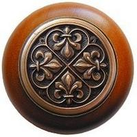 Notting Hill NHW-760C-AC, Fleur-De-Lis Wood Knob in Antique Copper/Cherry Wood, Olde World