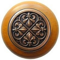 Notting Hill NHW-760M-AC, Fleur-De-Lis Wood Knob in Antique Copper/Maple Wood, Olde World
