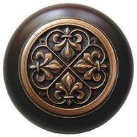 Notting Hill NHW-760W-AC, Fleur-De-Lis Wood Knob in Antique Copper/Dark Walnut Wood, Olde World