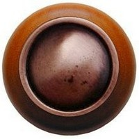 Notting Hill NHW-761C-AC, Plain Dome Wood Knob in Antique Copper/Cherry Wood, Classic
