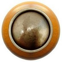 Notting Hill NHW-761M-AB, Plain Dome Wood Knob in Antique Brass/Maple Wood, Classic