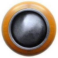 Notting Hill NHW-761M-AP, Plain Dome Wood Knob in Antique Pewter/Maple Wood, Classic