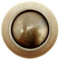 Notting Hill NHW-761N-AB, Plain Dome Wood Knob in Antique Brass/Natural Wood, Classic