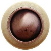 Notting Hill NHW-761N-AC, Plain Dome Wood Knob in Antique Copper/Natural Wood, Classic