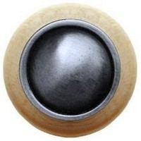Notting Hill NHW-761N-AP, Plain Dome Wood Knob in Antique Pewter/Natural Wood, Classic