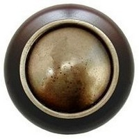 Notting Hill NHW-761W-AB, Plain Dome Wood Knob in Antique Brass/Dark Walnut Wood, Classic