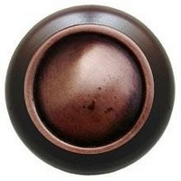 Notting Hill NHW-761W-AC, Plain Dome Wood Knob in Antique Copper/Dark Walnut Wood, Classic