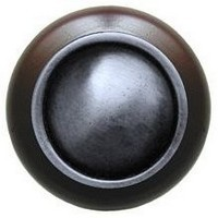 Notting Hill NHW-761W-AP, Plain Dome Wood Knob in Antique Pewter/Dark Walnut Wood, Classic