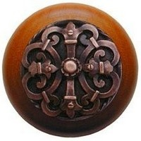 Notting Hill NHW-776C-AC, Chateau Wood Knob in Antique Copper/Cherry Wood, Olde World