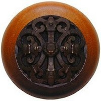 Notting Hill NHW-776C-DB, Chateau Wood Knob in Dark Brass/Cherry Wood, Olde World
