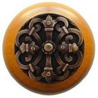 Notting Hill NHW-776M-AB, Chateau Wood Knob in Antique Brass/Maple Wood, Olde World