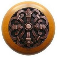 Notting Hill NHW-776M-AC, Chateau Wood Knob in Antique Copper/Maple Wood, Olde World