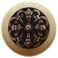Notting Hill NHW-776N-AB, Chateau Wood Knob in Antique Brass/Natural Wood, Olde World