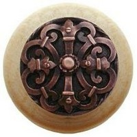 Notting Hill NHW-776N-AC, Chateau Wood Knob in Antique Copper/Natural Wood, Olde World