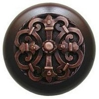 Notting Hill NHW-776W-AC, Chateau Wood Knob in Antique Copper/Dark Walnut Wood, Olde World