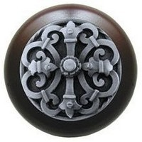 Notting Hill NHW-776W-AP, Chateau Wood Knob in Antique Pewter/Dark Walnut Wood, Olde World