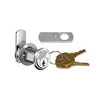 CompX C8109-107-26D, Pin Tumbler Cam Lock, 90-Degree Cam Turn, Lipped/Overlay, Cylinder 1-3/4, Max Material 1-1/2, Keyed #107, Satin Chrome