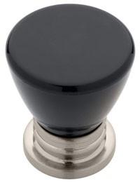 Liberty Hardware P15843C-SNB-C, Knob, 1-1/8 Dia, Satin Nickel & Black
