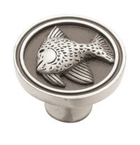 Liberty Hardware PBF659-BSP-C, Fish Knob, 1-3/8 Dia, Brushed Satin Pewter