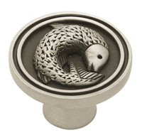 Liberty Hardware PBF662-BSP-C, Fish Knob, 1-3/8 Dia, Brushed Satin Pewter