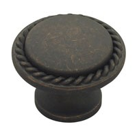 Liberty Hardware PN0293-OB-C, Rope Edge Knob, Length 1-3/16, Distressed Oil Rubbed Bronze, Contempo II