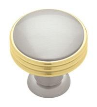 Liberty Hardware PN1035-PBN-C, Knob, 1-3/8 Dia, Polished Brass & Satin Nickel
