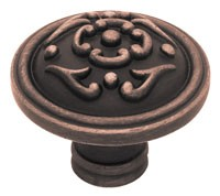 Liberty Hardware PN1510-VBR-C, French Lace Design Knob, 1-1/2 (38mm) dia., Bronze W/Copper Highlights
