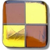 Glace Yar SQ-404BR112, Square 1-1/2 Length Glass Knob, 4 Tiles, Clear Gold & Copper, Beige Grout, Brass