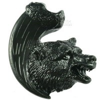 Sierra Lifestyles 681268, Knob, Bear with Claw Knob, Right Facing, Black, Rustic Lodge