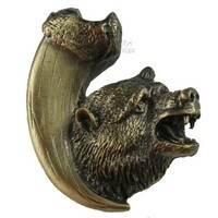 Sierra Lifestyles 681269, Knob, Bear with Claw, Right Facing, Antique Brass, Rustic Lodge