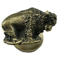 Sierra Lifestyles 681284, Knob, Buffalo Knob, Left Facing, Antique Brass, Western