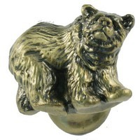 Sierra Lifestyles 681294, Knob, Grizzly Knob, Left Facing, Antique Brass, Rustic Lodge