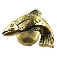 Sierra Lifestyles 681336, Knob, Fish, Left Facing, Antique Brass, Rustic Lodge