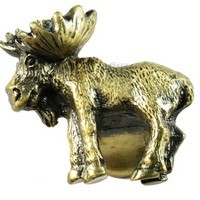 Sierra Lifestyles 681345, Knob, Realistic Moose, Left Facing, Antique Brass, Rustic Lodge