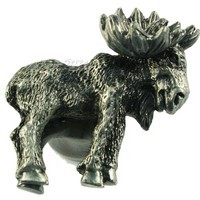 Sierra Lifestyles 681377, Knob, Realistic Moose, Right Facing, Pewter, Rustic Lodge