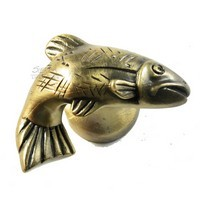 Sierra Lifestyles 681383, Knob, Fish, Right Face, Antique Brass, Rustic Lodge