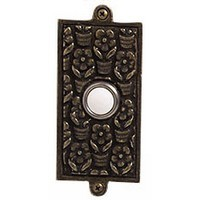 Emenee DB1005ABR, Doorbell, Floral, Antique Matte Brass, Solid Brass Doorbell