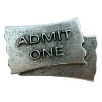 Emenee LU1238AGB, Knob, Admit One, Aged Brass