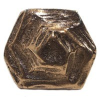 Emenee MK1030ABB, Knob, 6-Sided Hammered, Antique Bright Brass