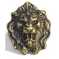 Emenee MK1035ABB, Knob, Lion Head, Antique Bright Brass