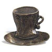 Emenee MK1053AMS, Knob, Cup & Saucer, Antique Matte Silver