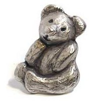Emenee MK1070AMS, Knob, Teddy Bear, Antique Matte Silver