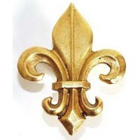 Emenee MK1073ABB, Knob, Fleur De Lis, Antique Bright Brass