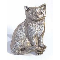 Emenee MK1092AMS, Knob, Cat, Antique Matte Silver