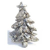 Emenee MK1102AMS, Knob, Christmas Tree, Antique Matte Silver