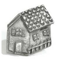 Emenee MK1105ABB, Knob, House, Antique Bright Brass