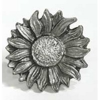 Emenee MK1107AMS, Knob, Sunflower, Antique Matte Silver
