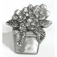 Emenee MK1120AMS, Knob, Flower Pot, Antique Matte Silver